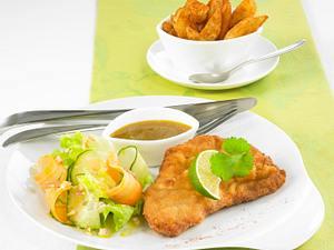 Senf-Schnitzel mit Kartoffelecken Rezept