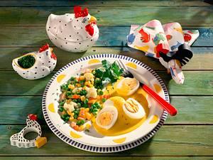 Senfeier mit Butter-Gemüse Rezept