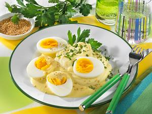 Senfeier mit Stampfkartoffeln Rezept