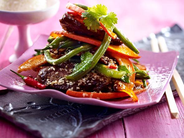 Sesam-Chili-Rinderfilet mit Bohnen und Kürbis Rezept
