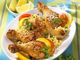Sesam-Hähnchenkeulen mit Zartweizen-Petersiliensalat Rezept