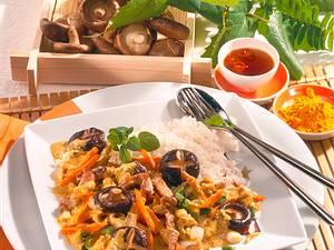 Shiitake-Curry mit Schweinegeschnetzeltem Rezept