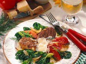 Soja-Bratling mit Tomaten-Spinatgemüse Rezept