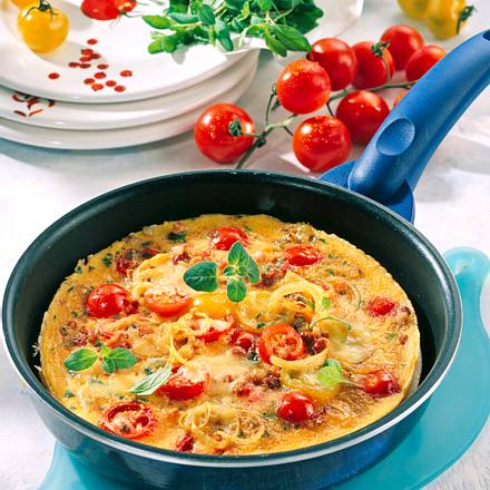 Sommerliches Tomaten-Omelett Rezept