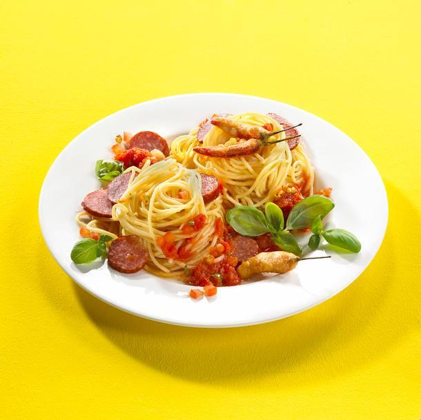 Spaghetti Arrabiata mit Knoblauchwurst Rezept