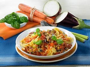 Spaghetti mit Auberginen-Bolognese Rezept