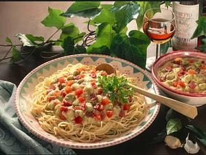 Spaghetti mit dicken Bohnen Rezept