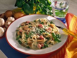 Spaghetti mit Erbsen, Champignons und Schinken-Soße Rezept