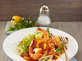 Spaghetti mit fruchtiger Tomatensoße und Garnelen (Grundsoße + Varianten) Rezept