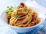 Spaghetti mit gebratener Chorizo und Eiersahne Rezept