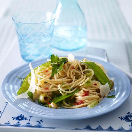 Spaghetti mit grüner Gemüsepfanne (Trennkost) Rezept