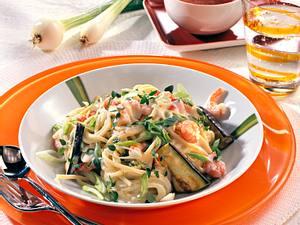 Spaghetti mit Krabben-Gemüsesoße Rezept