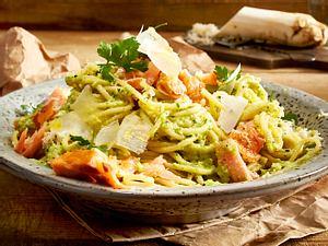 Spaghetti mit Lachs und Petersilienwurzel-Pesto Rezept