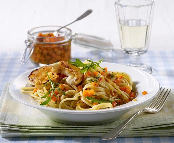 Spaghetti mit Möhrenpesto und gebratenem Ziegenkäse Rezept