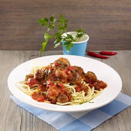Spaghetti mit orientalischer Tomatensoße und Hackbällchen (Grundsoße + Varianten) Rezept