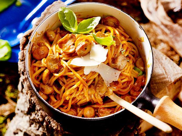 Spaghetti mit Pilz-Sahnesoße (One-Pot-Pasta) Rezept-F8565801