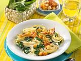Spaghetti mit Rahmspinat und Speckcroûtons Rezept