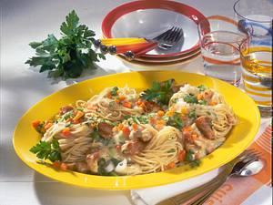 Spaghettinester mit Puten-Weißwein-Rahmgeschnetzeltem Rezept