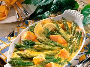 Spargel-Lachs-Gratin mit Senf-Hollandaise Rezept