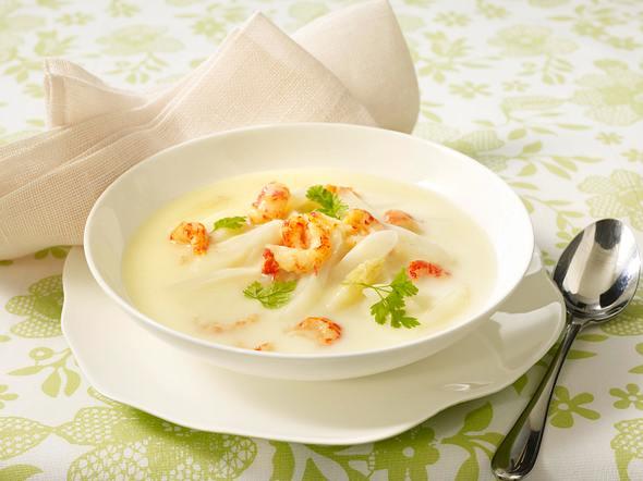 Spargelcreme-Suppe mit Krebsfleisch und Kerbel Rezept