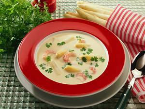 Spargelsuppe mit Shrimps Rezept