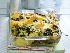 Spinat-Kartoffel-Gratin mit Gorgonzolasoße Rezept