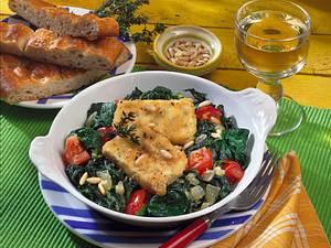 Spinatpfanne mit gebratenem Fetakäse Rezept