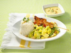 Spitzkohl-Curry mit Satéspießen (Diabetiker) Rezept
