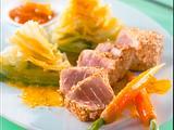 Spitzkohl-Möhren-Curry mit Sesam-Thunfischfilets Rezept