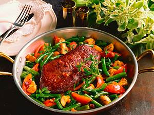 Steak auf Bohnengemüse Rezept