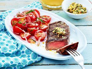 Steak mit Kirschtomatensalat Rezept