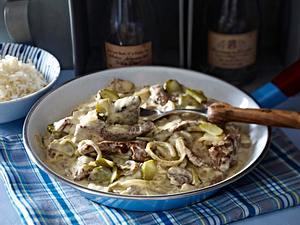 Steakpfanne à la Bœuf Stroganoff Rezept