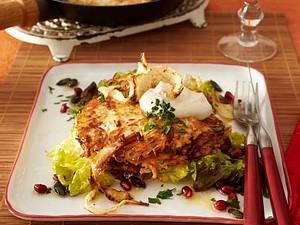 Steckrübenpuffer an Herbstsalat Rezept