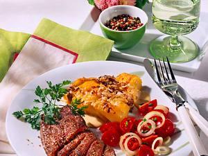 Straußensteak mit Kartoffel-Champignon-Gratin Rezept