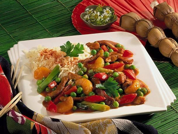 Süß-saures Schweinefleisch mit Reis Rezept