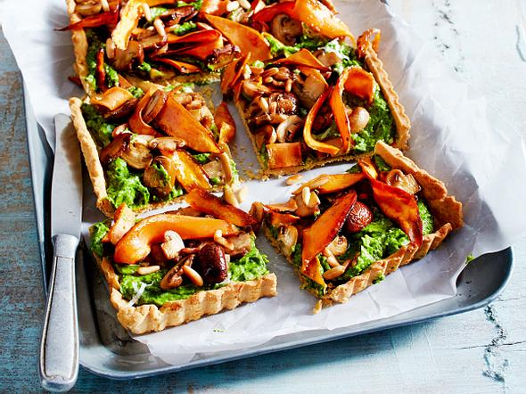 Süßkartoffel-Pilz-Tarte mit Avocado-Spinat-Creme Rezept