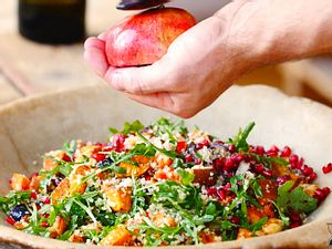 Süßkartoffel-Quinoa-Salat mit Halloumi Rezept