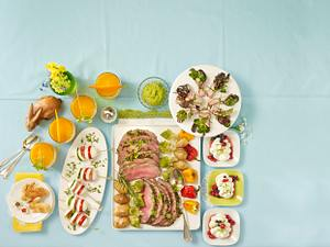 Tableau mit Roastbeef (Osterbrunch) Rezept