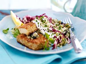 Tabouleh mit Tofuschnitzel und Radicchio-Salat Rezept