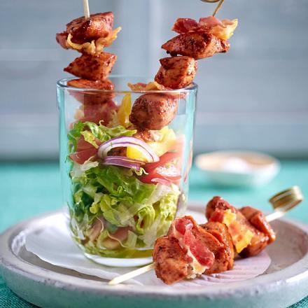 tandoori h hnchen bacon spie chen auf gehacktem salat rezept lecker. Black Bedroom Furniture Sets. Home Design Ideas