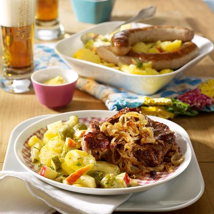 Thüringer Kartoffelsalat mit Thüringer Rostbrätl und Thüringer Würstchen Rezept