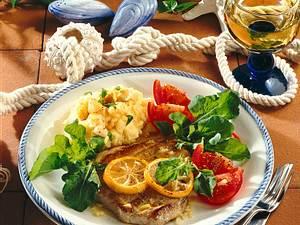 Thunfischsteak mit Knoblauch-Kartoffelpüree Rezept