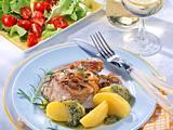 Thunfischsteak mit Kräuterpesto und Salat (Diabetiker) Rezept