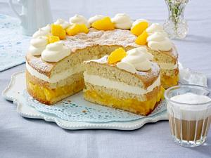 Tiramisu-Torte mit Mango-Orangen-Kompott Rezept