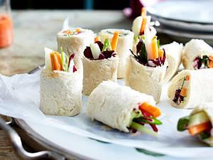 Toast-Sushi mit Gemüse und Wasabischmand Rezept