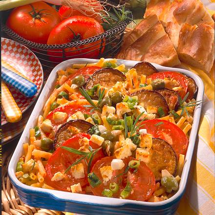 Tomaten-Auberginen-Auflauf mit Nudeln Rezept