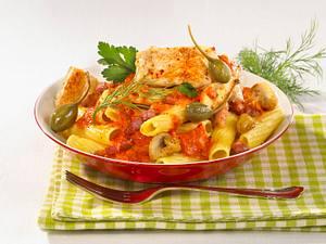 Tomaten-Rigatoni mit Bratfisch Rezept