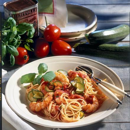Tomaten-Spaghetti mit Scampi Rezept
