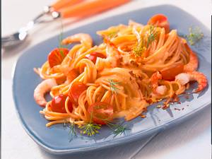Tomaten-Spaghetti mit scharfer Hummersoße Rezept