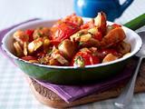 Tomaten-Wurst-Pfanne mit Röstbrot Rezept